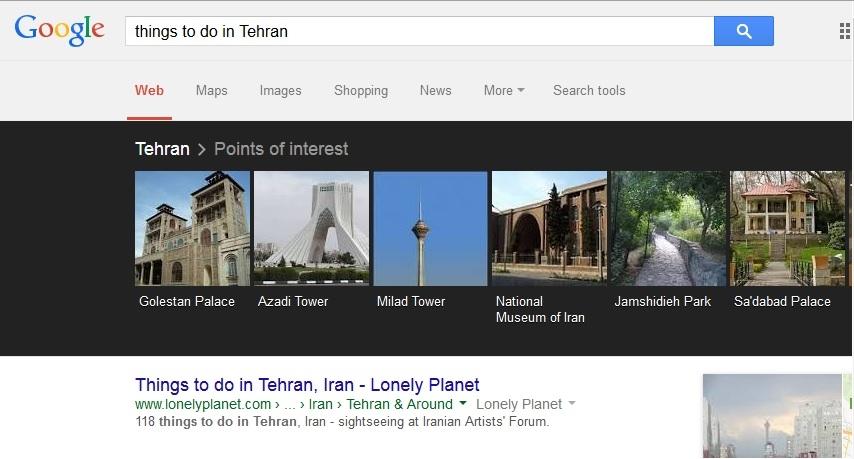 پی بردن به جاذبههای گردشگری شهرهای مختلف به وسیلهی گوگل