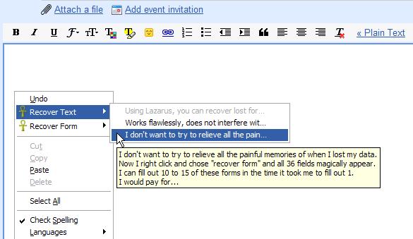 بازیابی اطلاعات ازدسترفته در فرمها و ویرایشگرهای متن موجود در صفحات اینترنتی
