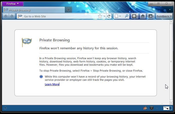 ایجاد یک تب خصوصی در Firefox 20