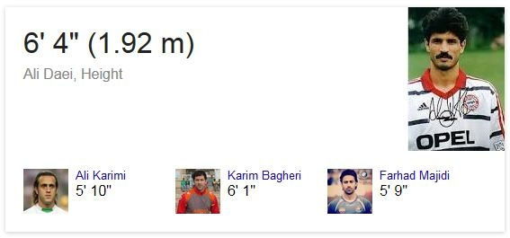 پی بردن به قد و وزن اشخاص معروف به وسیلهی موتور جستجوی گوگل