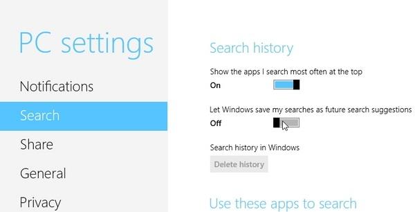پاک کردن تاریخچهی جستجو در نوار Charms ویندوز 8