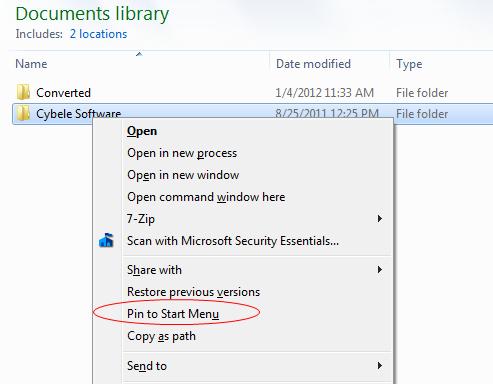 سنجاق کردن فایلها و پوشهها به منوی Start ویندوز 7