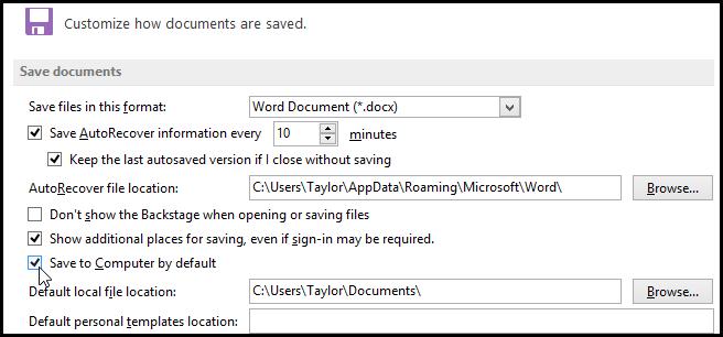 تغییر محل پیشفرض ذخیره فایلها به هارددیسک در آفیس 2013