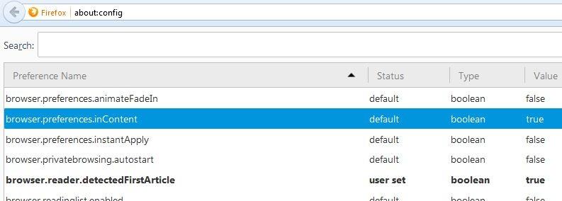 نمایش تنظیمات مرورگر در یک تب جدید در فایرفاکس 15