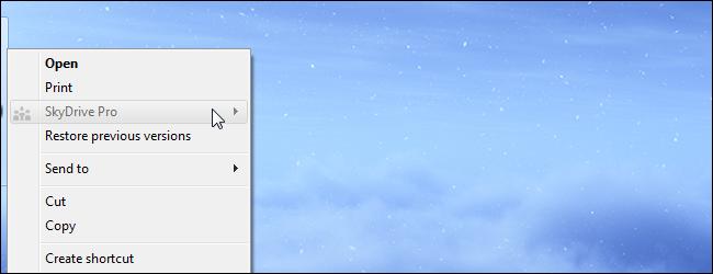 حذف SkyDrive Pro از منوی راست کلیک فایلها و پوشهها