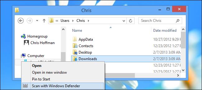 افزودن گزینهی Scan with Windows Defender به منوی راست کلیک فایلها