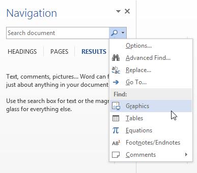نحوهی جستجوی تصاویر و جداول در Word 2010 و  Word  2013