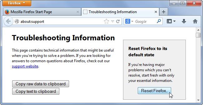 بازگردانی فایرفاکس به تنظیمات اولیه برای حل مشکلات مرورگر
