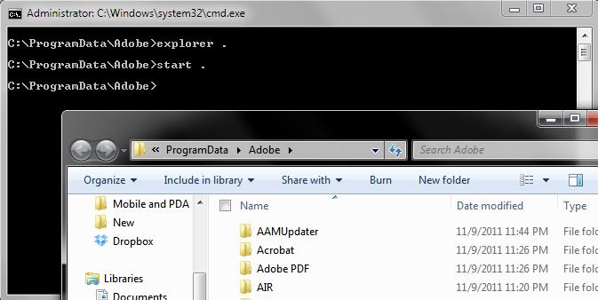باز کردن پوشهی مسیر جاری CMD به شکلی سریع