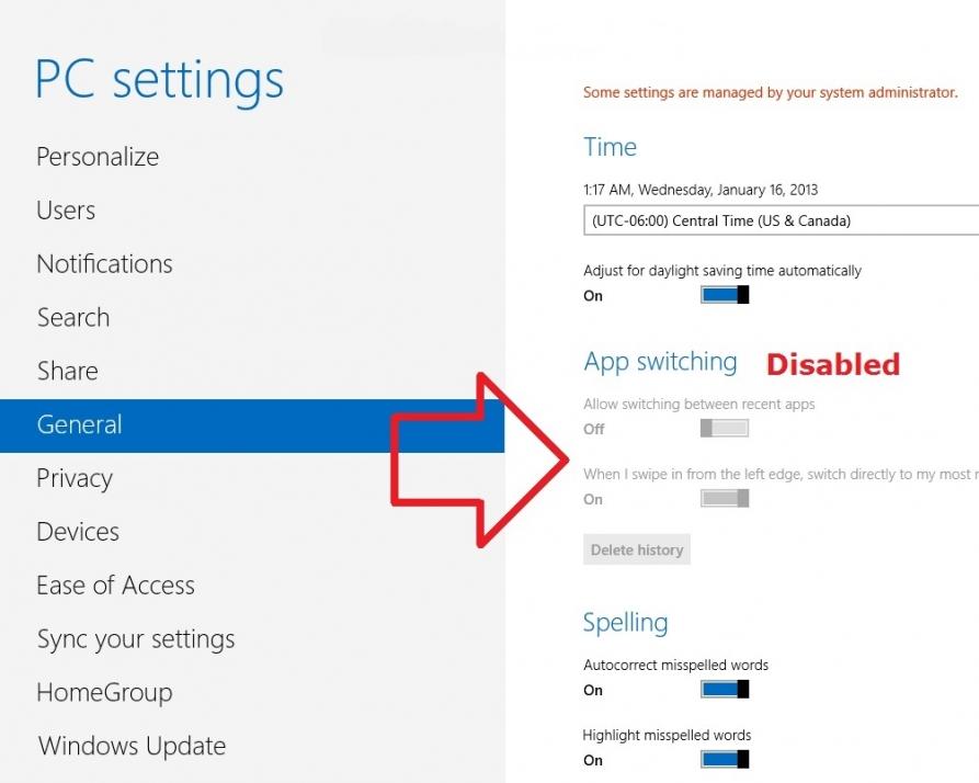 غیرفعال کردن قابلیت جابجایی سریع بین اپلیکیشنهای در حال اجرا در «ویندوز 8»