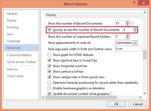 دسترسی سریع به فایلهای بازشدهی اخیر در آفیس 2013