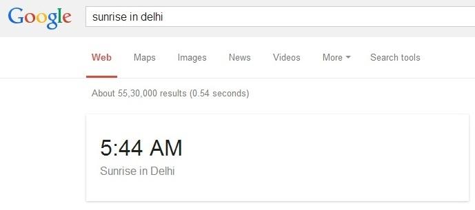 پی بردن به زمان طلوع و غروب آفتاب به وسیلهی گوگل
