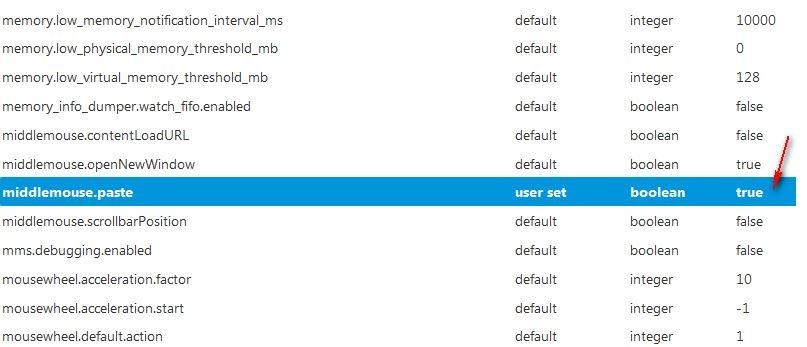 Paste کردن محتویات Clipboard در فایرفاکس با استفاده از کلیک وسط ماوس