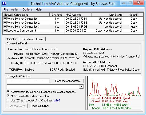 تغییر دائمی MAC Address کارت شبکه