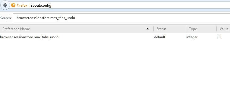 افزایش تعداد تبهای بهتازگی بستهشده در فایرفاکس