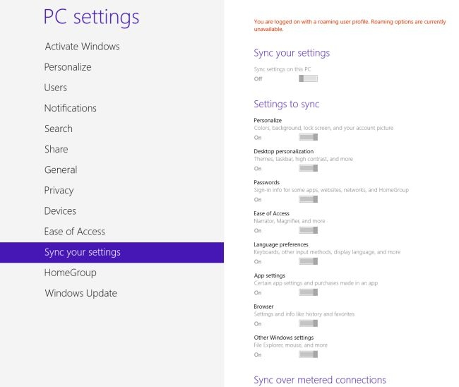 نحوه غیرفعال کردن تنظیمات همگامسازی در ویندوز 8