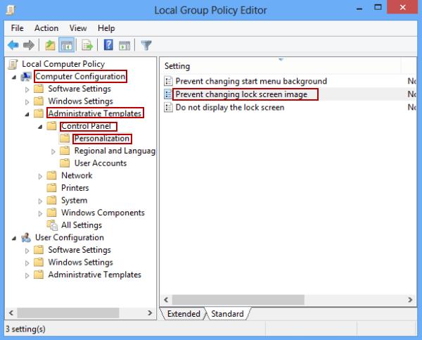 نحوه جلوگیری از تغییر تصویر Lock Screen در ویندوز 8