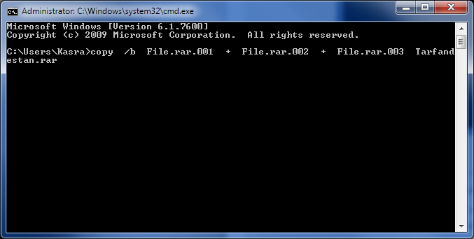 ادغام فایلهای تکهتکه شده به وسیله ی Command Prompt ویندوز