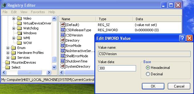 تغییر شماره سرویس پک ویندوز از طریق رجیستری