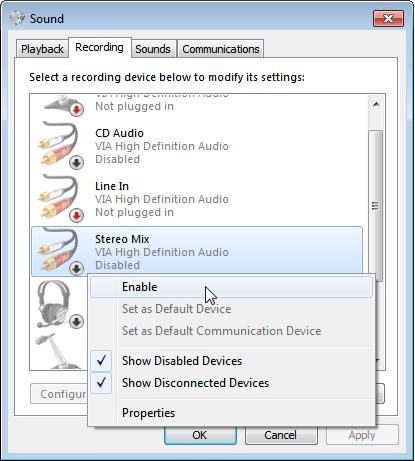 فعال کردن ضبط Stereo Mix در ویندوز ویستا