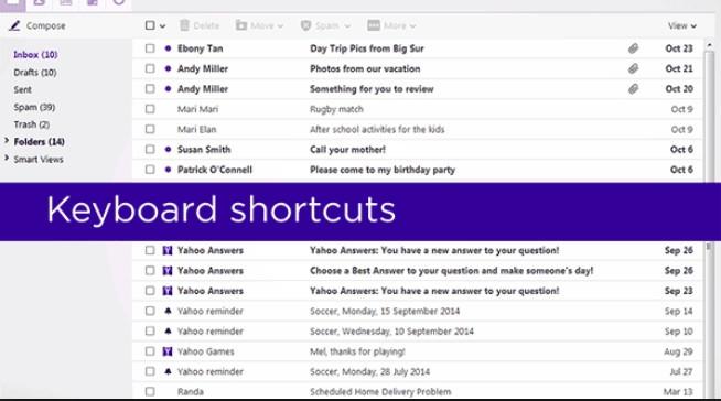 کلیدهای میانبر کاربردی در Yahoo Mail جدید