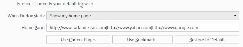 قرار دادن همزمان چندین صفحهی خانگی در فایرفاکس