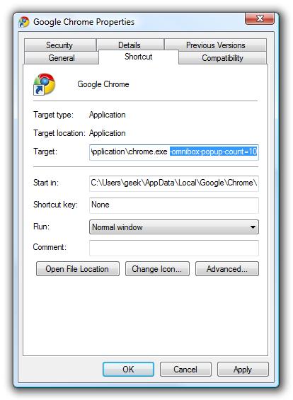 افزایش تعداد آدرسهای پیشنهادی در Google Chrome