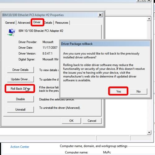 بازگرداندن Driver قبلی، در صورتی که Driver جدید سختافزار درست کار نکند