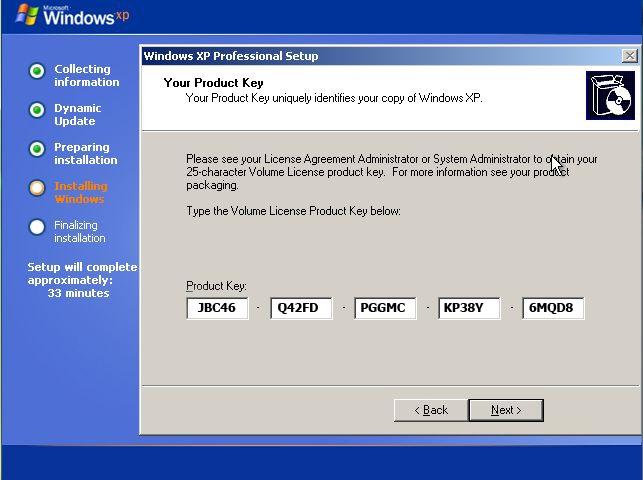 شماره سریال جادویی برای نصب ویندوز XP
