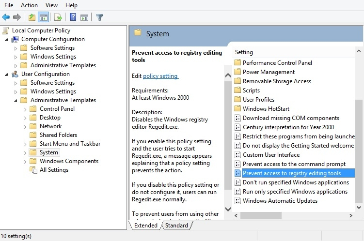 مسدود کردن رجیستری در ویندوز XP