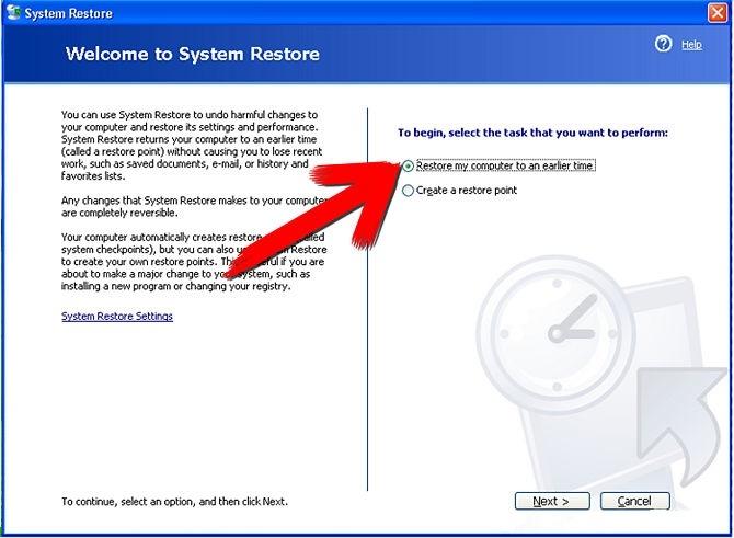 بازگرداندن ویندوز XP خرابشده به حالت قبل به وسیلهی System Restore