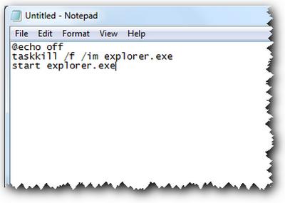 ساخت یک فایل میانبر جهت بازآغازی سریع Explorer.exe
